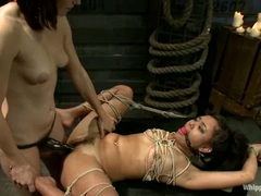 Annie Cruz gets pussy fucked by Bobbi Starr's strap on