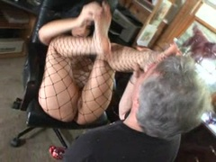 Horny Luscious Lopez allows this dick to suck her feet