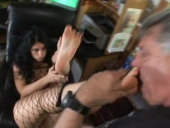 Whore Luscious Lopez has her feet licked by this dick