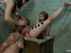 Rampant Bobbi Starr torments these two dripping whores