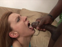Sassy whore Olga Barz gets splashed in black dick seed