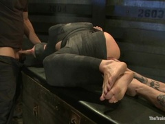 Naughty Lorelei Lee is tied up & made to suck cock