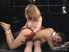 Whore Nina Hartley spanks her bitch Mika Tan