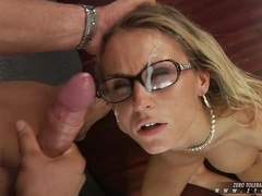 Laura Crystal sucking cock after a hot jizz shower