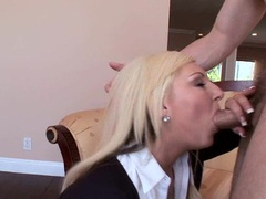 Stunning Kendra Devons stuffs her mouth with hard cock