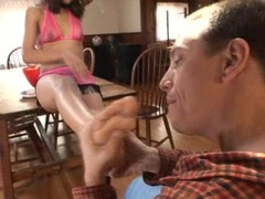 Babe Estrella Flores lets this prick suck on her feet