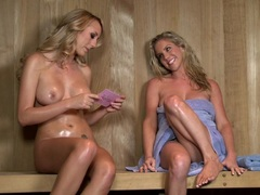 Brett Rossi gives a sexy naked interview in a sauna