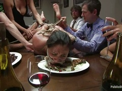 Charley Chase is made to eat like an animal