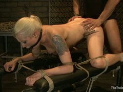 Bound slut Lorelei Lee gets her wet snatch pummelled