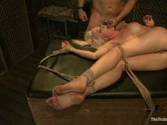 Filthy Lorelei Lee gets plastered with cock juice