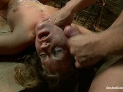Dominated Lizzy London gets plastered with dick juice
