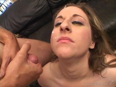 Filthy Kitty Lee gets doused with hot dick juice