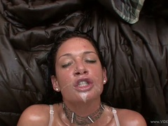 Slutty Tory Lane gets her face splashed with nut juice