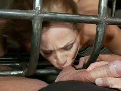 Sex slave Princess Donna suck cock in a cage
