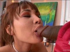 Dark dick lover Jade Hsu gobbles down a massive dick
