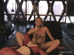 Shayla Laveaux gets tongue fucked by Nina Hartley