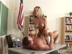 Randy bitch Scarlett Fay rides her pussy on a huge dick