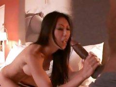 Asian hottie is violated by Mandingo's monster