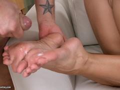 Cock cream drips on to Aletta Oceans gorgeous feet