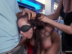 Kelly Divine is made to suck cock in public