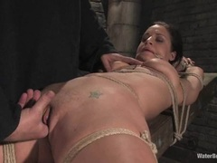 Tied babe Mia Bangg has her pussy tantalised