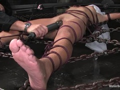 Sizzling Keeani Lei is tied up & her pussy played with