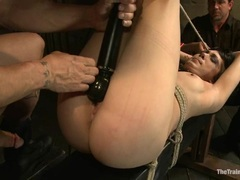Sexy bitch Asphyxia is bound up & her pussy lips teased