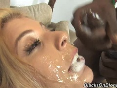 Rampant Chantell Merino is covered in cock sauce