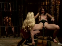 Naughty Sarah Shevon is tied up & teased by Aiden Starr