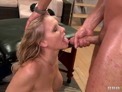 Alluring Julia Ann is covered in warm nut juice