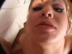 Seductive Aubrey Adams gets her mouth filled with jizz