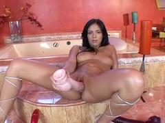 Rampant Lorena Sanchez toy fucks her dripping clunge
