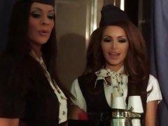 Air stewardesses Linsey Dawn Mckenzie and Gemma Massey