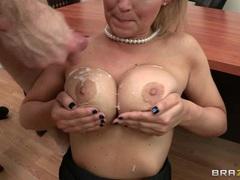 Abbey Brooks has her jebbs glazed with dick milk