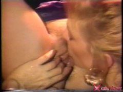 Blistering Nina Hartley licks out this babes slit