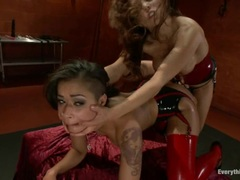 Skin Diamond get ass fucked by Francesca Le's strap on