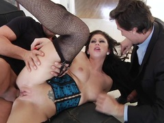 Naughty Brooklyn Lee is slammed up her brown eye