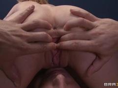 Candy Mason slobbers over a stiff throbbing cock