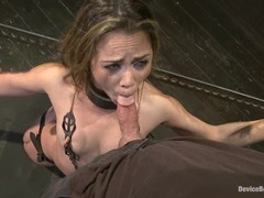 Dominated Kristina Rose slavers over a stiff cock