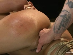 Bound Layla Storm gets her moist pussy finger fucked