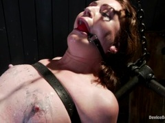Bound Sarah Shevon gets her moist pussy teased