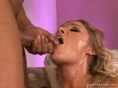 Allison Pierce gets her face splashed with hot jizz
