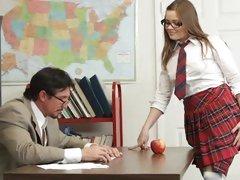 Naughty schoolgirl Ashlynn Leigh gets fucked in class