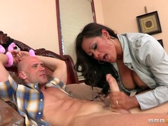 Maxine X shoves this hard cock down her slippery throat