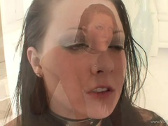Savannah Paige gets her face splattered with warm jizz