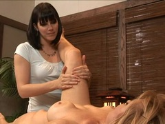 Bobbi Starr lesbian massage with hot blonde