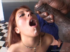 Saucy Jennifer Luv gets saturated with warm dick juice