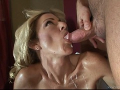 Lexi Carrington gets plastered with warm cock juice