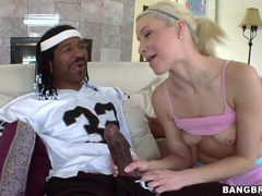 Annika Albrite wraps her lips around this huge prick