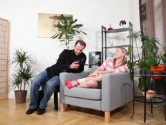 Sweet blonde babysitter is fucked by her boss